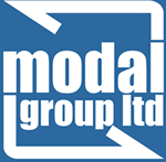 Modal Group Ltd logo and blue and white colours.